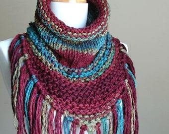 Fringed Cowl Scarf, Jewel Tone Knit Triangle Cowl with Fringe - Chunky Scarf with Fringe in Green Blue Burgundy Oxblood - Original Design