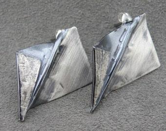 Silver Folded Earrings - Black