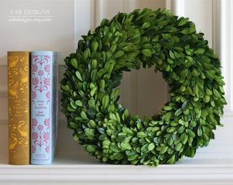 """Boxwood Wreath, Preserved Boxwood Wreath, 12"""", Large Boxwood Wreath"""
