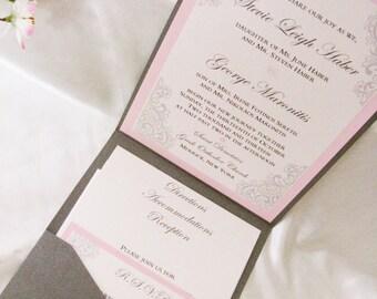 Beautiful Pink & Grey Custom Pocketfold