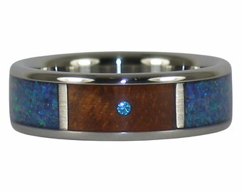 Blue Diamond Opal and Amboyna Wood Titanium Ring