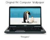 Original Art Penguins Laptop Desktop Computer Wallpaper 1920x1080 Digital Download