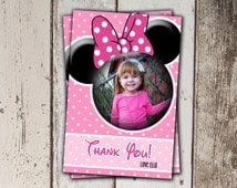 Pink Minnie Mouse Thank You Cards with Photo