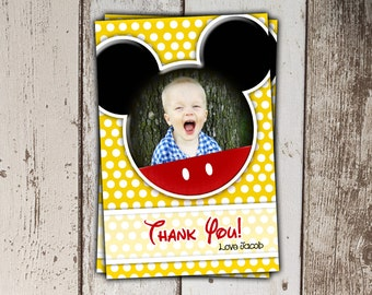 Mickey Mouse Thank You Cards with Photo - yellow polka dots