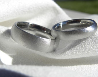 Ring SET or Matching Bands, Titanium Rings, Domed, Burnished Finish