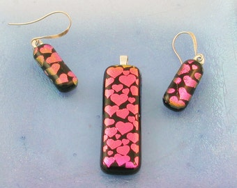 Pink HEART jewelry - dangle dichroic earrings and/or pendant - fused glass earrings or Pendant (1515)