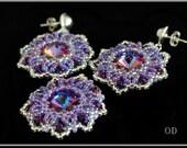 Earrings and Pendant Ice-Purple Set. Swarovski Crystals