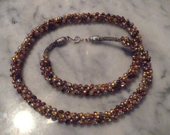 Kumihimo Braided Necklace -browns and golds