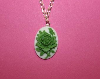 Medium Green Rose Cameo Necklace