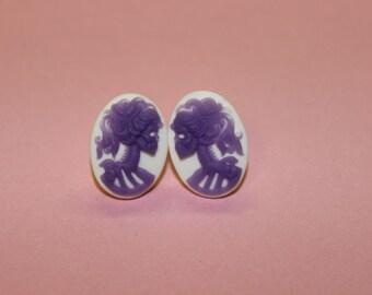 Small White & Lavender Skull Lady Lolita Cameo Earrings