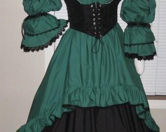 DDNJ Choose Fabric Burlesque Victorian Steampunk Style 3pc Plus Custom Made ANY Size Renaissance Goth Pirate Vampire Anime Costume Wedding