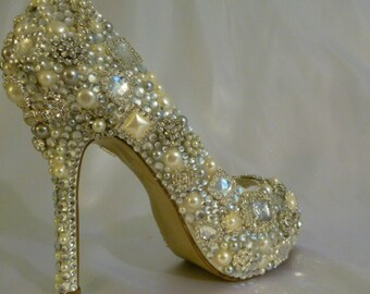 Cinderellas Wish.. Wedding Shoes .. Crystal High Heels ..Sparkling Evening Shoes .. Pearl and Crystal Shoes.. Peep Toes ...  FREE US Postage