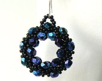 Black Beaded Hoop Earrings, Sparkling Iris Finish Black Earrings, Iridescent Black Beadwoven Earrings, Elegant Jewelry, Evening Jewelry