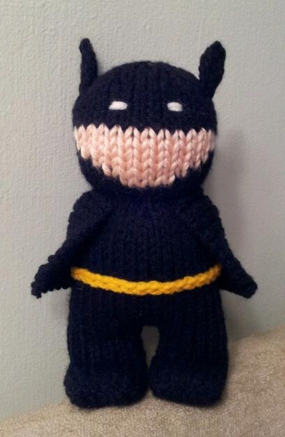 Hand Knit Batman in Black Suit 8 inches tall soft by forthetiny