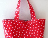 Beth's Medium White Dot on Red Oilcloth Market Tote Bag