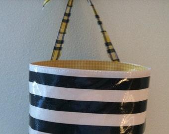 Beth's Black Stripe Oilcloth Car Trash Bag