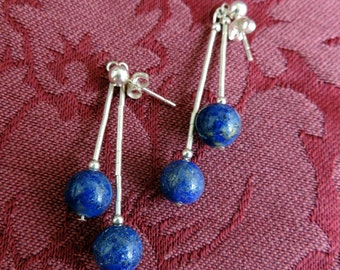 Liquid Silver with Sodalite Balls Earrings