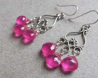 Hot Pink Earrings, Pink Chalcedony earrings, That's HOT Pink Chalcedony earrings