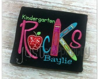 Kindergarten Rocks Embroidery Applique Design