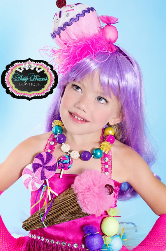 Candyland Katy Perry Chunky Beaded Necklace with Lollipop Pendant.....Children, Baby, Toddler