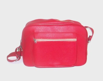 1960s travel bag / vintage 60s luggage / American Tourister / Cherry Red Travel Bag