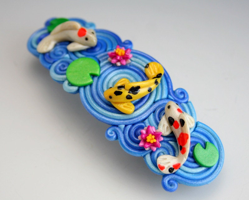 Koi pond barrette in polymer clay filigree for Clay fish pond