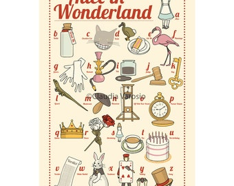 Alice in Wonderland: the illustrated ABC 12x18 inches print