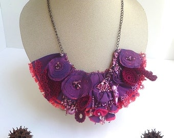 SALE Purple ruffle necklace, fiber wearable art purple bib necklace, marked down 50%, floral, bohemian, romantic, elegant