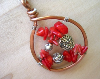 Coral Necklace Gothic Romantic May Birthstone