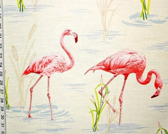 Pink flamingo fabric interior home decorating cotton material BTY 1 yard