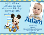 Mickey Mouse 1st Birthday Invitations /Baby Mickey Mouse 1st Birthday/ With Matching Return Address Labels