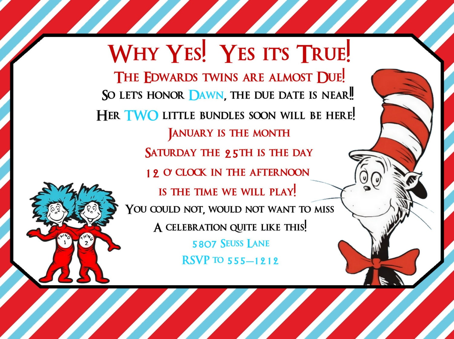 Dr Seuss Baby Shower Invites with great invitation layout