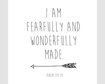 I am Fearfully and Wonderfully Made, Psalm 139:14 || Children's Art, Nursery Art, Art Print