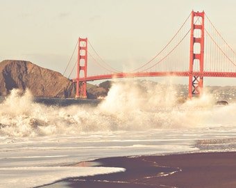 large wall art, San Francisco photography Golden Gate Bridge landscape photograph, California home decor, beach waves red orange 40x30 print