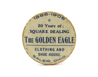 1906 Salem Ohio Advertising Pocket Mirror The Golden Eagle