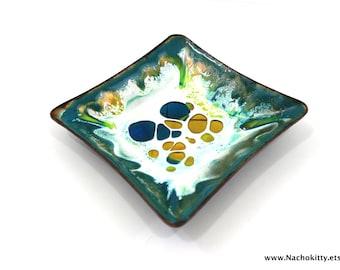 1950s Enamel Dish, Turquoise Green Yellow & Blue Mid Century Style