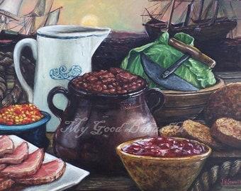 New England  Supper Original Foodie Still Life, Rustic, Gourmet Art, Kitchen Art, Restaurant Art, Ham and Beans, Brown Bread, Cabbage