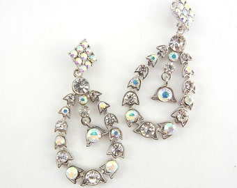 Pair of Teardrop Aurora Borealis Rhinestones Floral Drop Charms