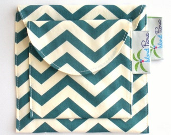 Teal Chevron Sandwich and Snack Bags, Reusable, Organic Cotton, Eco Friendly - Set of 2 - Back to School