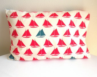 Toddler/Travel Pillowcase - Organic Cotton, Eco Friendly - Red and Blue Sailboats - Back to School, Naptime