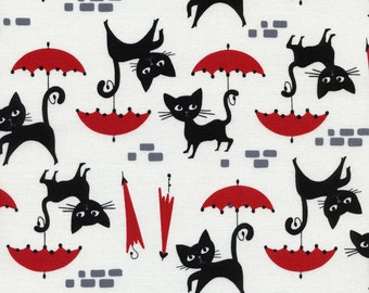 Clearance Sale - Le Chat Black Cats with Red Umbrellas - fabric TT-C1079
