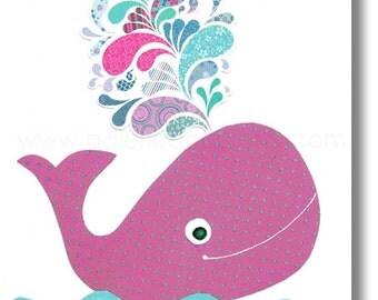 Bathroom art for kids - baby nursery decor - children art - Whale nursery girl ocean sea - The Happy Whale print