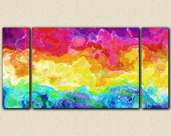 """Abstract large wall art stretched canvas print, 30x60 to 40x78 in bright colors, from abstract painting """"Rainbow Connection"""""""
