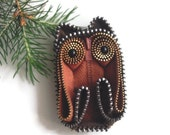 Autumn Rust Owl Zipper brooch pin handmade wearable collectible art collectible One Of A Kind