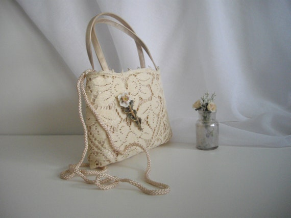 Cream Lace Upcycled Lace Purse With Vintage Porcelaine Rose Accent Keepsake Brooch Ready To Ship