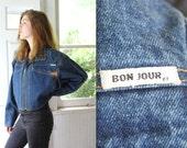 vintage denim jacket. Large. 1980s cropped jean jacket by Bon Jour. Rocker hipster avant garde. Batwing sleeves. Blue jean bolero.