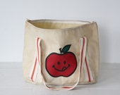 vintage 1970s canvas tote. Smiling apple red and white satchel / shoulder bag. Rustic retro schoolbag carryall