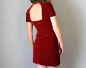 Vintage YOUNG EDWARDIAN Dress •1960s Mini • By ArpejaShort Cap Sleeve Open Back Mod Red Velvet Crushed Velour • 60s 70s Small Medium 4 6