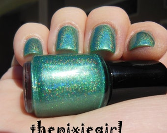 HOLOGRAPHIC Linear Rainbow Spectraflair Green Nail Polish Lacquer 5mL Mini Sized Bottle