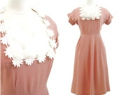 40s Dress Vintage Peach Crepe Tulle Bridal Cocktail  XL